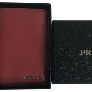 PRADA Red Saffiano Leather Card Holder